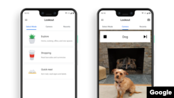 """Screenshot images show Google Lookout's modes """"Explore,"""" """"Shopping"""" and """"Quick read,"""" as well as the app identifying a dog in the camera frame. (Google)"""