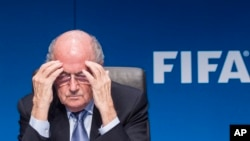 Joseph Blatter durante una conferencia de prensa en la sede de la FIFA, en Zúrich.