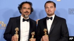 """آلخاندرو گونزالس اینیاریتو و لئوناردو دی کاپریو در بخش دراما جوایز؛ بهترین فیلم، کارگردانی و بازیگر نقش اول را برای فیلم """"بازگشته"""" کسب کردند"""