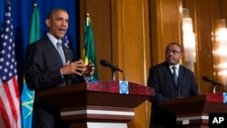 President Barack Obama speaks during a joint news conference with Ethiopian Prime Minister Hailemariam Desalegn, July 27, 2015, at the National Palace in Addis Ababa. (AP Photo/Evan Vucci)