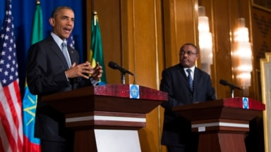 President Barack Obama speaks during a joint news conference with Ethiopian Prime Minister Hailemariam Desalegn, July 27, 2015, at the National Palace in Addis Ababa. Obama is the first sitting U.S. president to visit Ethiopia.