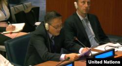자성남 북한대사가 6일 미국을 비난하는 발언을 하고 있다.