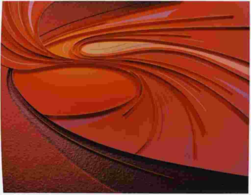 Tina York representa gráficamente los principios de la dinámica en los fluidos, un movimiento en el que gases de cuerpos sólidos pasan a través de ellos. York hizo esta investigación como parte del programa de Arte de la NASA.