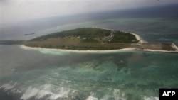 Hình chụp từ trên không cho thấy đảo Pagasa, hòn đảo chính của quần đảo Kalayaan ngoài khơi biển Tây Philippines