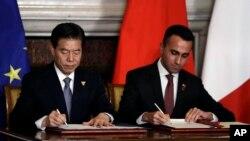 中國商務部長鐘山(左)資料照。