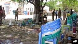 Les forces de sécurité sur les lieux de l'attaque du mois dernier à Beledweyne