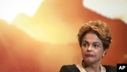 FILE - President Dilma Rousseff is seen at an event in Brasilia, Brazil, in a Oct. 7, 2015, photo.