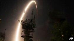 Roket Soyuz milik Rusia lepas landas dari kosmodrom Baikonur di Kazakhstan (29/5).