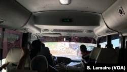 View from inside the tour bus in Haiti.