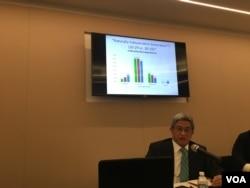 台湾民主基金会执行长徐斯俭分析民调结果 (美国之音钟辰芳拍摄)