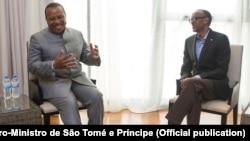 Patrice Trovoada, primeiro-ministro são-tomense, e Paul Kagame, Presidente do Ruanda, Kigali, 2016