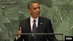 美国总统奥巴马对联大演说(美国之音视频截图)