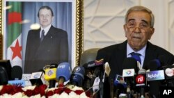 Interior Minister Daho Ould Kablia speaks during a news conference to announce the results of election in Algiers.