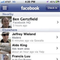 An example of the Facebook Places service