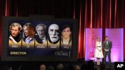 Glumica Ema Stoun i voditelj dodele Oskara Set Mekfarlan predstavljaju nominovane reditelje.
