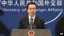 정례 브리핑 중인 홍레이 중국 외교부 대변인. (자료사진).