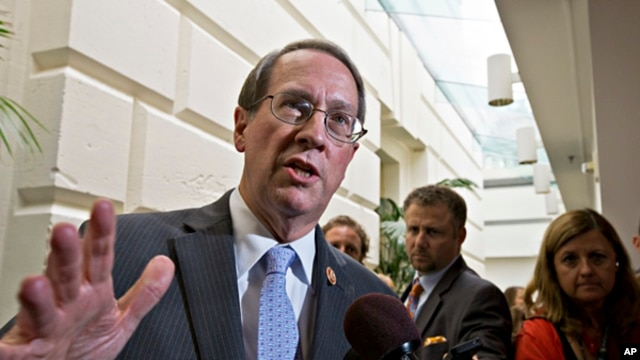House Judiciary Committee Chairman Bob Goodlatte, R-Va., speaks with reporters after House Republicans worked on an approach to immigration reform in a closed-door meeting, July 10, 2013.