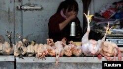 Seorang pejual tengah menyantap makanannya sambil menunggu pembeli di kios ayam di sebuah pasar di Hefei, propinsi Anhui (1/4). Dua orang di Shanghai dilaporkan meninggal dan satu orang di Anhui dalam keadaan gawat akibat terinfeksi virus flu burung jenis H7N9.