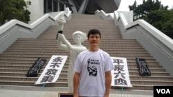 1989年北京學運領袖周鋒鎖首次在香港參加支聯會舉辦的毋忘六四長跑活動 美國之音記者 湯惠芸