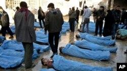 Des morts à Alep en Syrie
