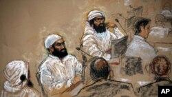 三名被指控为9/11恐怖袭击同谋的人2009年在关塔纳摩庭讯
