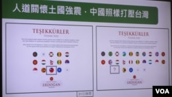 台灣立法院就土耳其政府感謝幫助賑災國家的國旗圖卡向台灣外交部質詢(美國之音張永泰2020年11月2日拍攝)