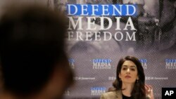 Attorney Amal Clooney participates in a panel discussion on media freedom at United Nations headquarters Wednesday, Sept. 25, 2019. (AP Photo/Seth Wenig)