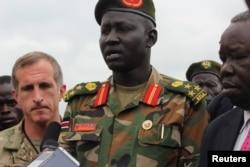 Brigadier General Lul Ruai Koang of the Sudan People's Liberation Army addresses the media in Juba, South Sudan, Aug. 29, 2017.