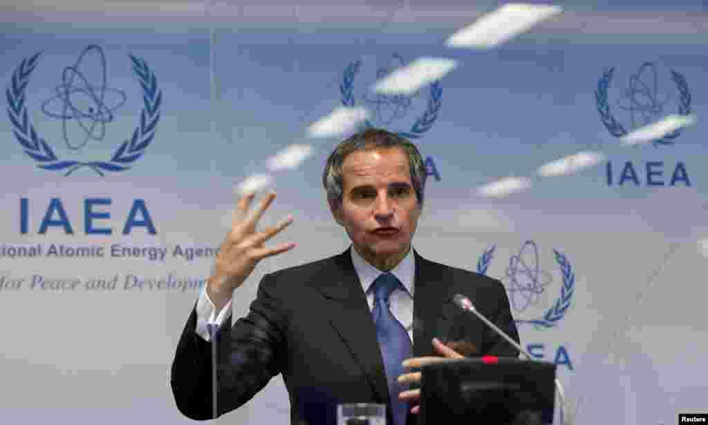 Beynəlxalq Atom Enerjisi Agentliyinin (BAEA) baş direktoru Rafael Grossi Vyana şəhərində mətbuat konfransı