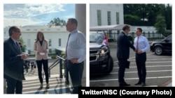 Kombinacija dve fotografije na kojima Ričard Grenel dočekuje premijera Kosova Avdulaha Hotija (levo) i predsednika Srbije Aleksandra Vučića (Foto: Twitter/NSC)