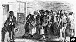 1860년대 식량배급을 타는 늙은 노예들의 모습