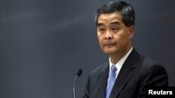 Pemimpin Eksekutif Leung Chun-ying menolak tuntutan para demonstran prodemokrasi (foto: dok).