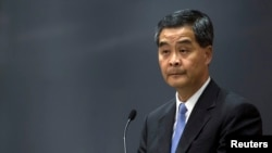 FILE - Hong Kong's Chief Executive Leung Chun-ying speaks during a news conference in Hong Kong.