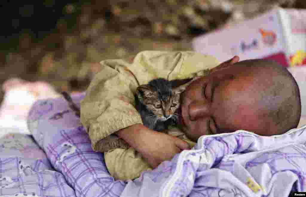 Seorang anak memeluk kucingnya pasca gempa di tempat penampungan di kota Ludian, Zhaotong, provinsi Yunnan, China.