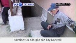 Cư dân gần sân bay Donetsk tìm nơi trú ẩn lánh chiến sự (VOA60)