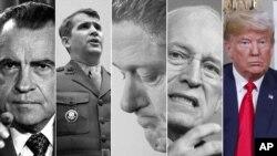 Foto ki montre prezidan ameriken ak vis prezidan ki te sou ankèt espesyal. Richard Nixon, Oliver North, Bill Clinton, Dick Cheney, ak Donald Trump. Soti nan Watergate rive sou Mueller.