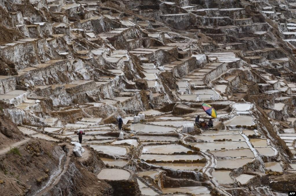 페루의 계단식 염전인 살리네라스 데 마라스에서 염전 노동자들이 작업하고 있다.