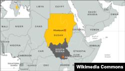 Peta wilayah Sudan dan Sudan Selatan.