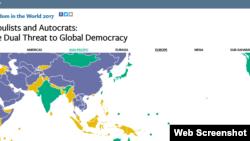 自由之家發布最新的世界自由度報告(網頁截圖)