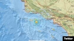 El epicentro del sismo estuvo localizado en el mar frente a las Islas Channel, informó el Servicio Geológico de EE.UU. Foto: @USGS.