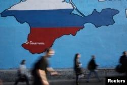 Mural sa mapom Krima na jednoj moskovskoj ulici.