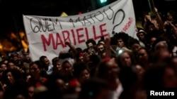 Rassemblement pour dénoncer l'assassinat de la militante Marielle Franco, tuée le 14 mars 2018, Sao Paulo, Brésil, 15 mars 2018.