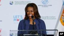 미셸 오바마 여사가 지난 달 25일 마이애미에서 열린 아동 비만 퇴치 캠페인에 참석했다. (자료사진)