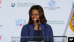 美国第一夫人米歇尔•奥巴马2月25日在迈阿密发表演讲(资料照片)