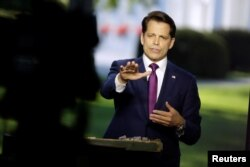 White House Communications Director Anthony Scaramucci speaks during an on-air interview at the White House in Washington, July 26, 2017.