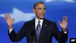 Tổng thống Obama đọc diễn văn tại Đại hội Đảng Dân chủ, ở Charlotte, tiểu bang North Carolina, 6/9/12