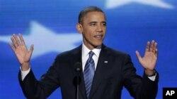Presiden AS, Barack Obama memberikan pidato pada konvensi nasional Partai Demokrat di Charlotte, North Carolina hari Kamis malam (6/9).