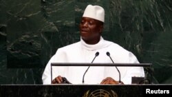 FILE - Yahya Jammeh, president of Gambia, was traveling when conspirators attacked the presidential palace in December.