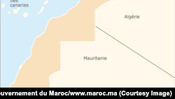 La carte de la frontière entre le Maroc et la Mauritanie.