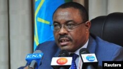 FILE - Hailemariam Desalegn, Prime Minister of Ethiopia, addresses a news conference from his office in Ethiopia's capital Addis Ababa.